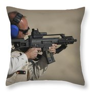 German Police, Isaf Member Fires A G36k Throw Pillow