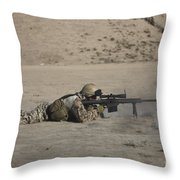 German Soldier Firing A Barrett M82a1 Throw Pillow