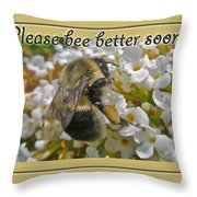 Get Well Card - Bumblebee Throw Pillow