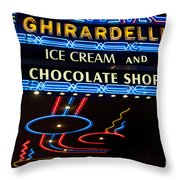 Ghirardelli Chocolate Signs At Night Throw Pillow