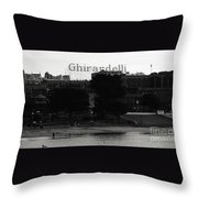 Ghirardelli Square In Black And White Throw Pillow by Linda Woods