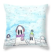 Ghost In Snow Throw Pillow