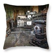 Ghost Town Stove Storage - Montana State Throw Pillow
