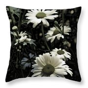 Ghostly Daisies Throw Pillow
