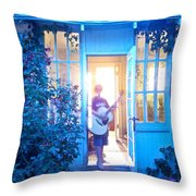 Ghostly Guitarist Throw Pillow