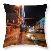 Ghostly Halloween Party Goers On Chippewa Throw Pillow