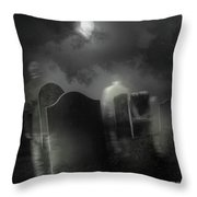 Ghosts Wandering In Old Cemetery  Throw Pillow by Sandra Cunningham
