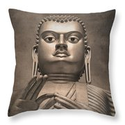 Giant Gold Buddha Vintage Throw Pillow by Jane Rix
