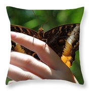 Giant Owl Butterfly In Hand Throw Pillow