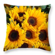 Giant Sunflowers For Sale In The Swiss City Of Lucerne Throw Pillow