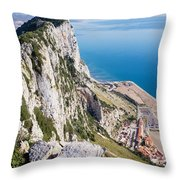 Gibraltar Rock And Mediterranean Sea Throw Pillow