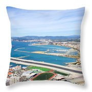 Gibraltar Runway And La Linea Cityscape Throw Pillow