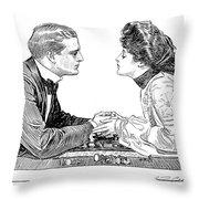 Chess Game, 1903 Throw Pillow