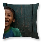 Giggles Against The Wall Throw Pillow