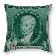 Gilbert Charles Stuart Postage Stamp Throw Pillow