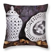 Ginger Jar And Compote Still Life Throw Pillow by Tom Mc Nemar