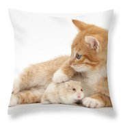 Ginger Kitten And Russian Hamster Throw Pillow