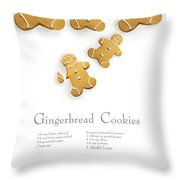Gingerbread Men Cookies Against Cookie Receipe Throw Pillow
