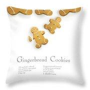 Gingerbread Men Cookies Against Cookie Receipe Throw Pillow by Sandra Cunningham