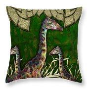 Giraffes In A Golden Forest Throw Pillow