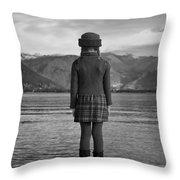 Girl At A Lake Throw Pillow