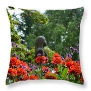 Girl Behind Red Geraniums Throw Pillow