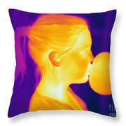 Girl Blowing A Bubble Throw Pillow