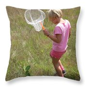 Girl Collecting Insects In A Meadow Throw Pillow by Ted Kinsman