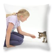 Girl Feeding Kitten From A Spoon Throw Pillow
