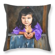 Girl From San Luis Throw Pillow