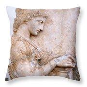 Girl Holding Chest Throw Pillow