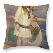 Girl In A Sailor Suit Throw Pillow