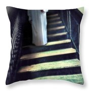Girl In Nightgown On Steps Throw Pillow