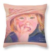 Girl In Straw Hat Throw Pillow by Julie Brugh Riffey