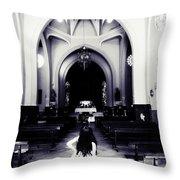 Girl In The Church Throw Pillow
