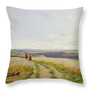Girl In The Fields   Throw Pillow