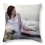 Girl In The Surf Throw Pillow