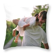 Girl On Fathers Shoulder Throw Pillow by Michelle Quance