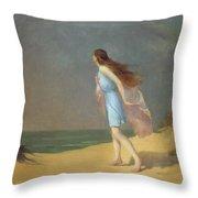 Girl On The Beach  Throw Pillow