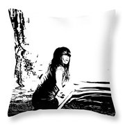 Girl On The Edge Of The Water Throw Pillow