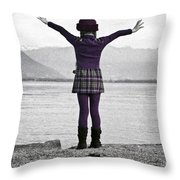 Girl On The Shores Of Lake Maggiore Throw Pillow