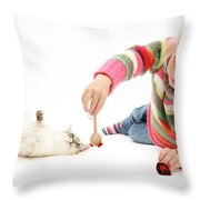 Girl Playing With Cat Throw Pillow