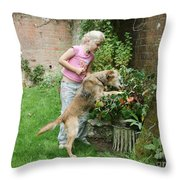 Girl Playing With Dog Throw Pillow