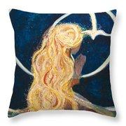 Girl Praying Throw Pillow