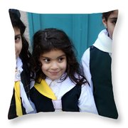 Girl Scouts At Orthodox Christmas Celebration Throw Pillow