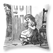Girl Sewing, 1873 Throw Pillow