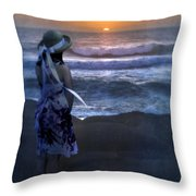Girl Watching The Sun Go Down At The Ocean Throw Pillow