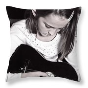 Girl With A Guitar  Throw Pillow