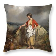 Girl With A Pitcher Throw Pillow by PF Poole