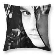 Girl With A Rose Veil 3 Bw Throw Pillow